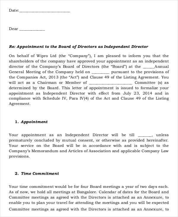 Template of Appointment for Independent Directors