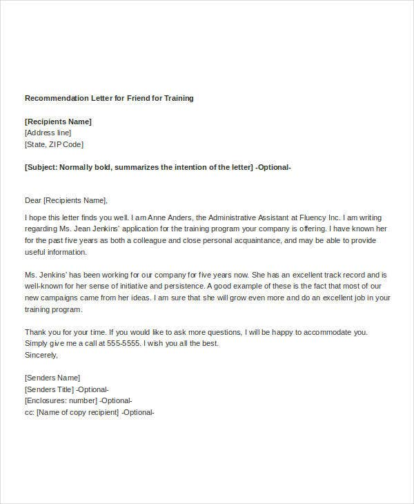 Simple Recommendation Letter Templates  Free Word Pdf