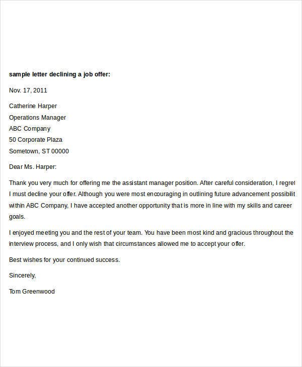 job offer decline letter sample