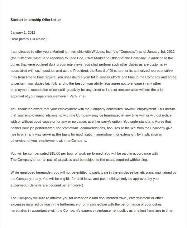 student internship offer letter