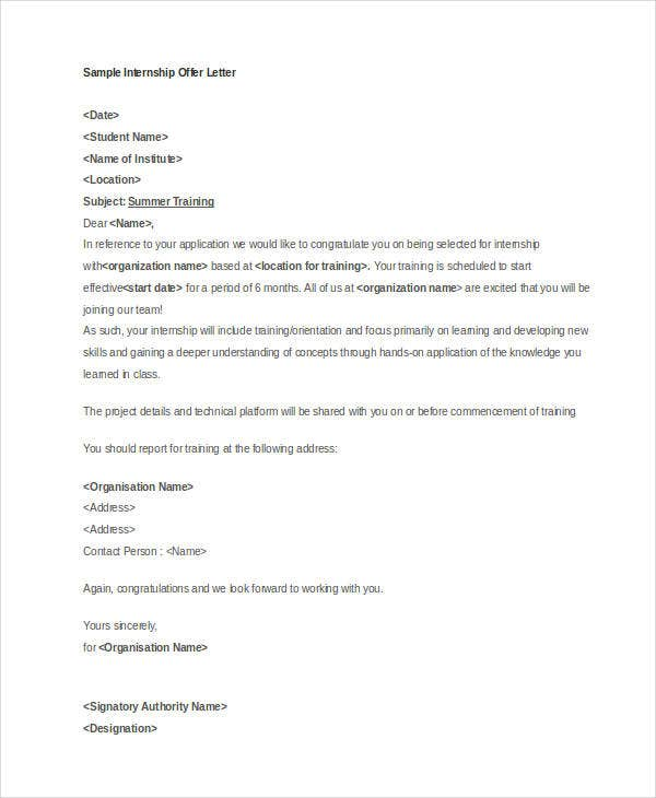 sample internship offer letter