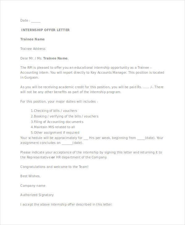 internship employment offer letter