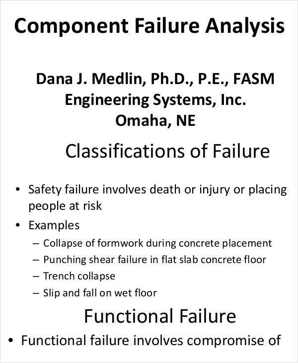 Component Failure Analysis Template