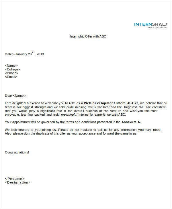 sample internship offer letters