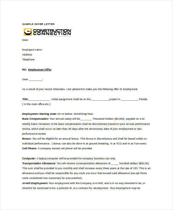 construction company offer letter