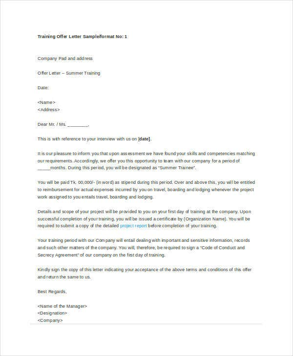 company training offer letter