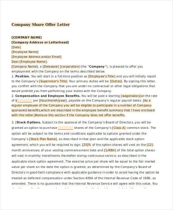 company share offer letter