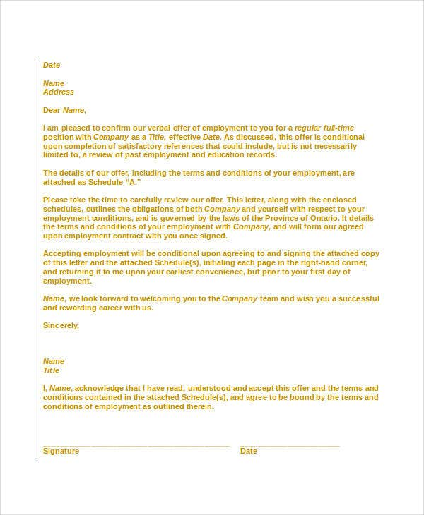 Offer Letter Templates In Doc   Free Word Pdf Documents