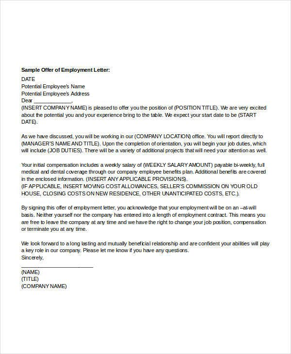 company employment offer letter