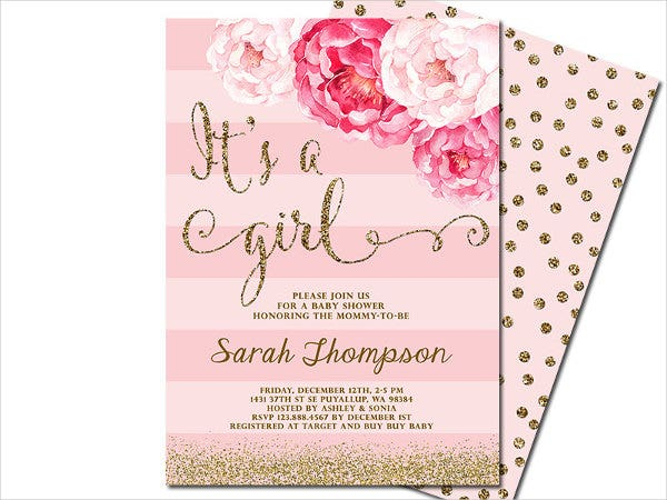 Pink Fl Baby Shower Invitation