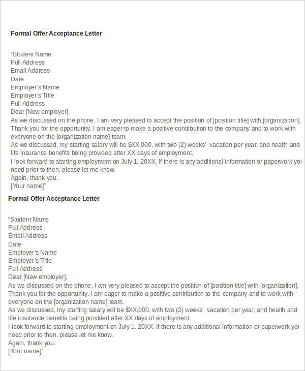 formal offer acceptance letters