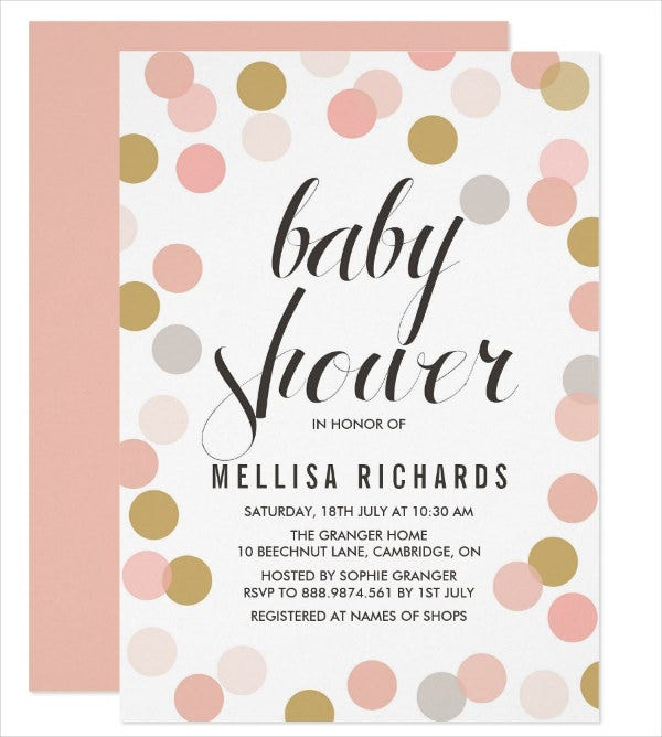 polka dot modern baby shower invitation