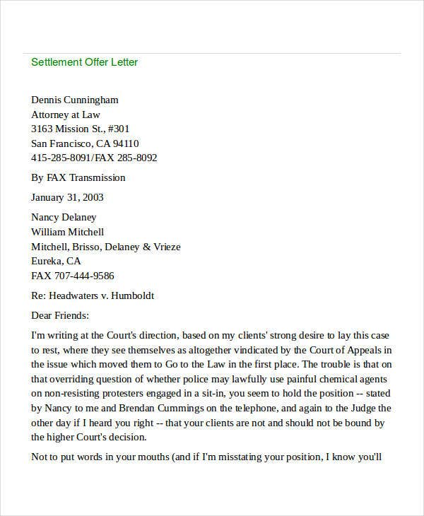 legal settlement offer letter2
