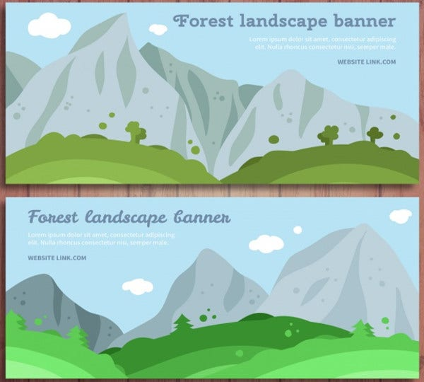 Landscape Banner with Mountains
