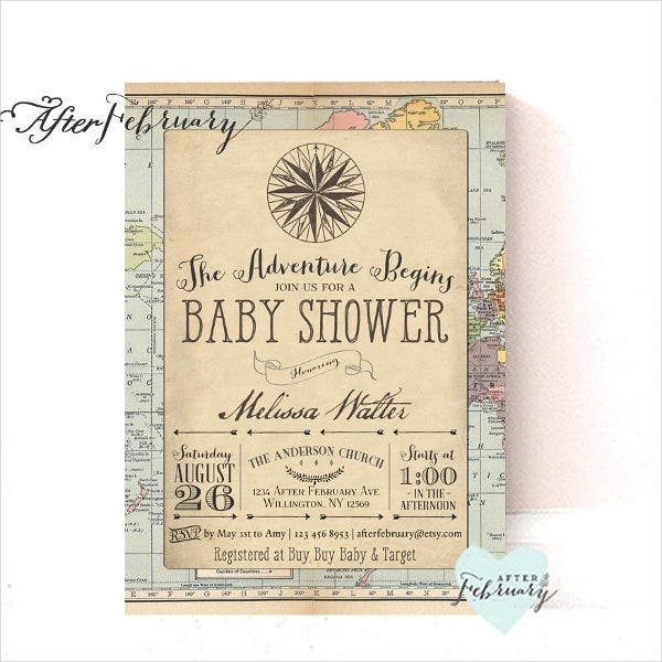 Vintage Travel Baby Shower Invitation