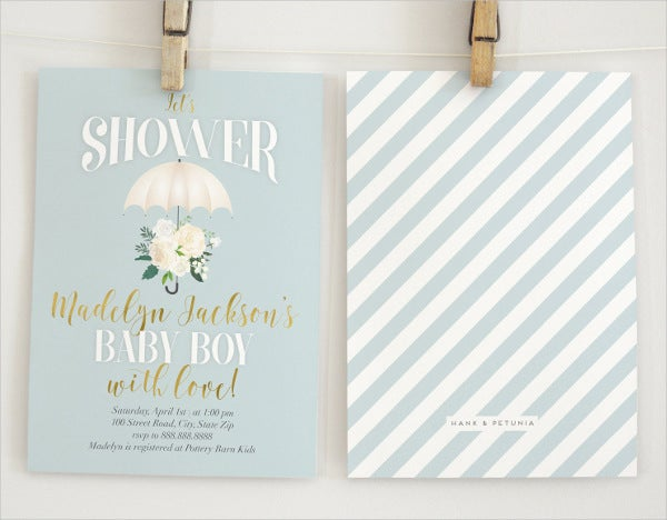 Watercolor Vintage Baby Boy Shower Invitation