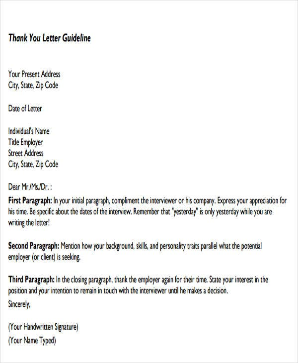 formal business thank you letter format