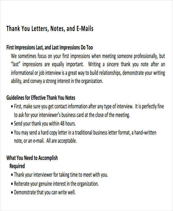 business meeting thank you letter format