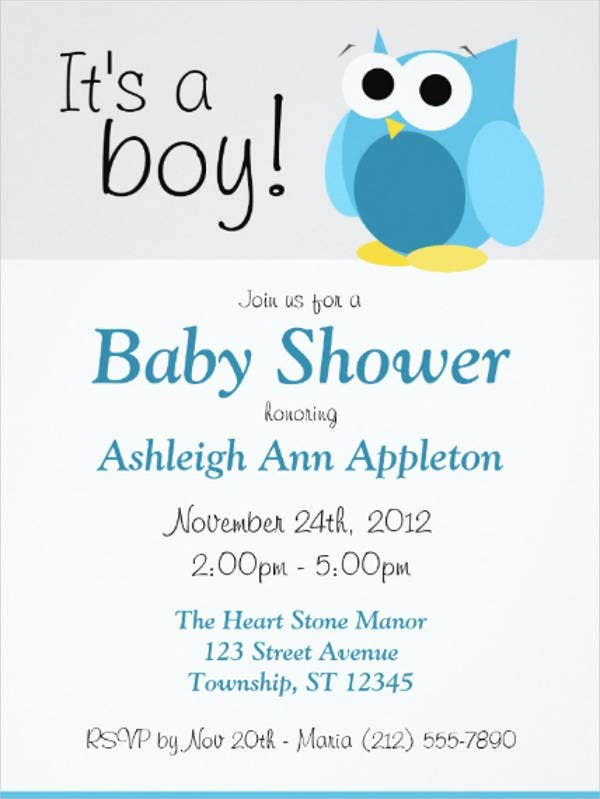 customized owl baby shower invitation