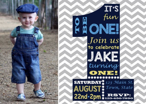 1st Birthday Invitation Card Template