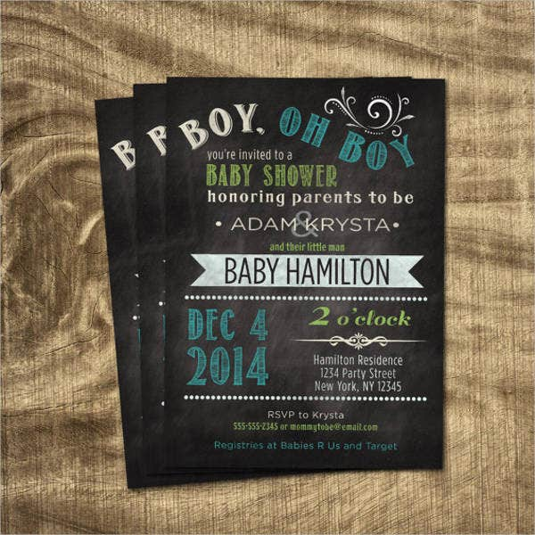 chalkboard boy shower invitation
