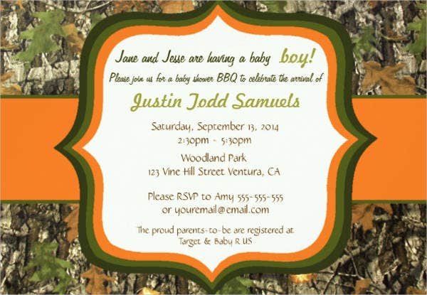 baby boy camo shower invitation