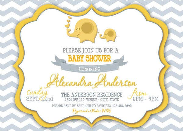 chevron elephant baby shower invitation