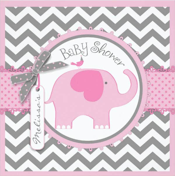 chevron print baby shower invitation