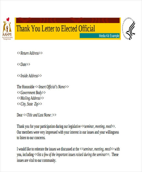 elected official thank you letter