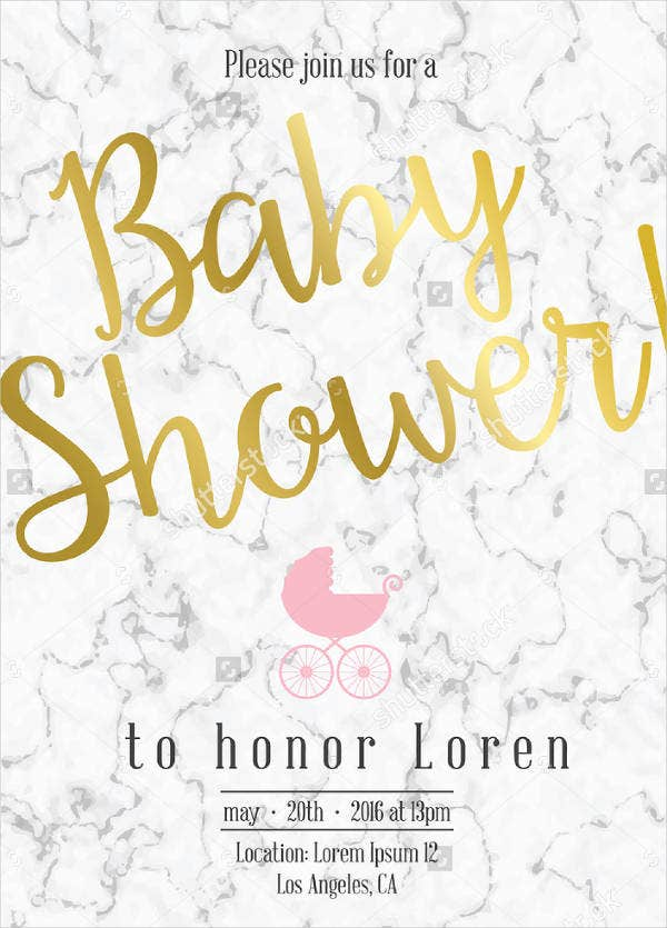 gold glittering chevron baby shower invitation