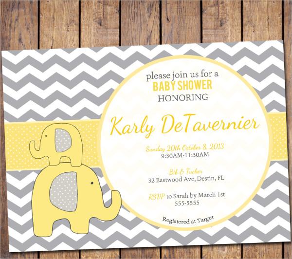 Elephant Chevron Baby Shower Invitation