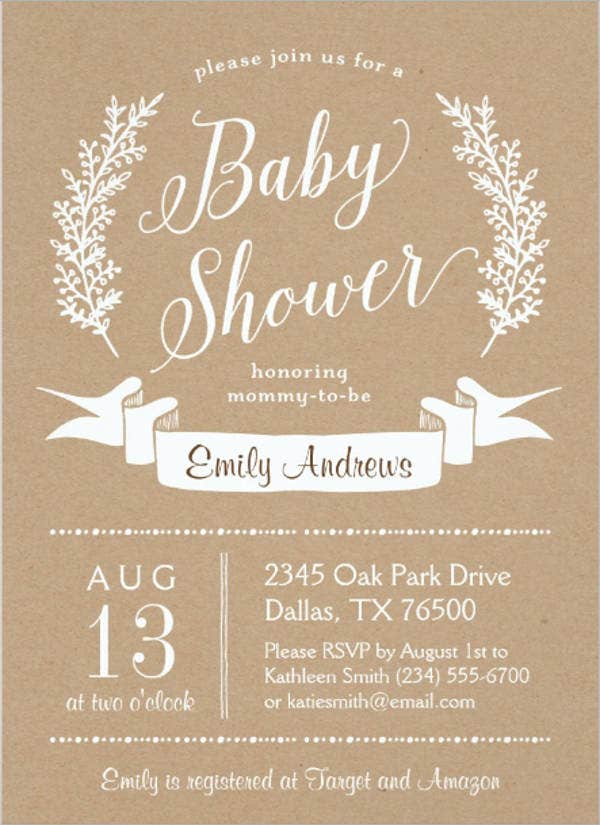 rustic gender neutral baby shower invitation