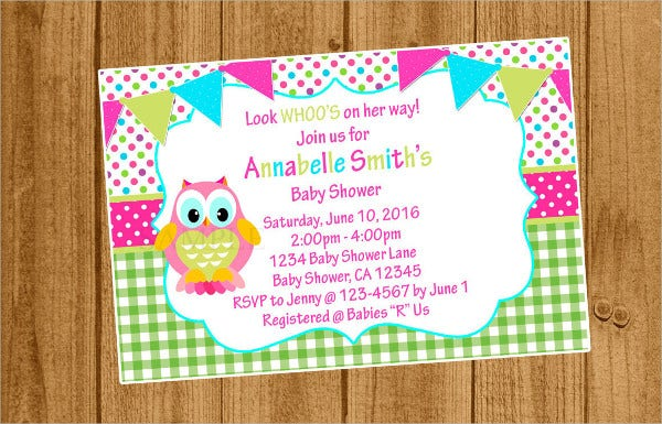 colorful owl baby shower invitation