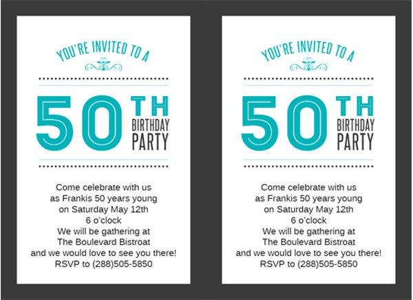 Free 50th Birthday Invitation