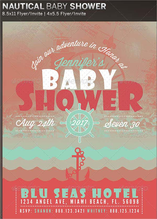 nautical girl baby shower invitation