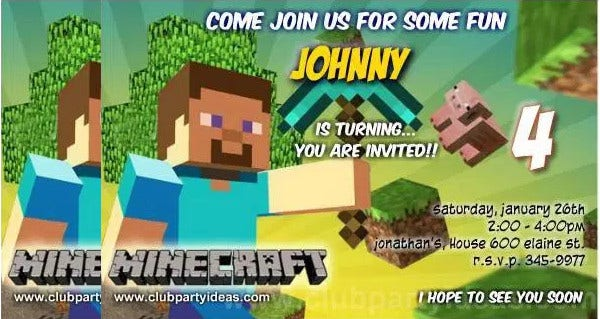 Printable Minecraft Birthday Invitation