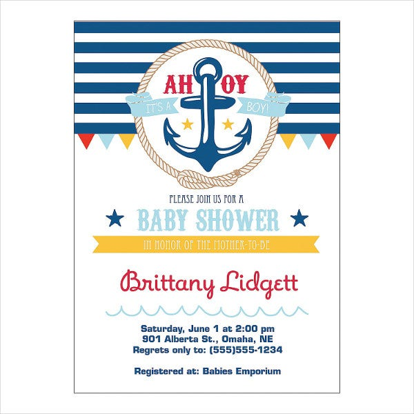 personalized nautical baby shower invitation