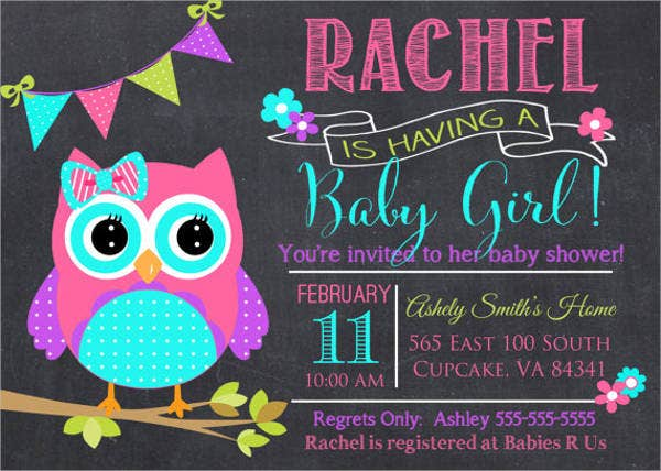 colorful owl baby shower invitation1