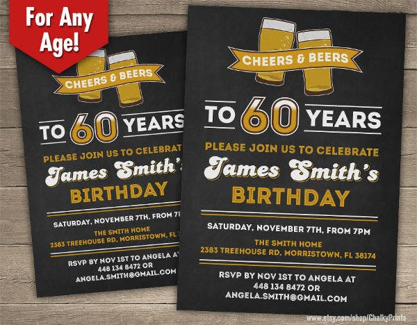 60th Birthday Invitation for Him