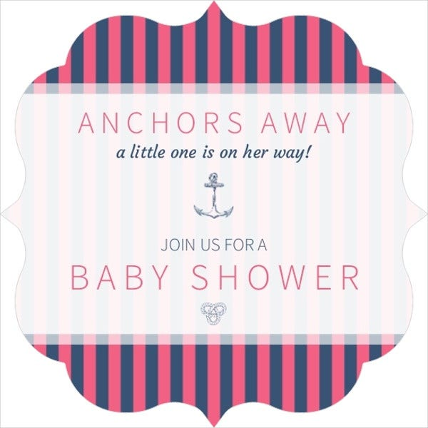 colorful striped nautical baby shower invitation