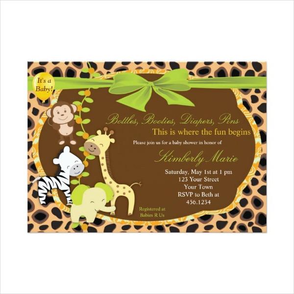 Jungle Animal Baby Shower Invitation