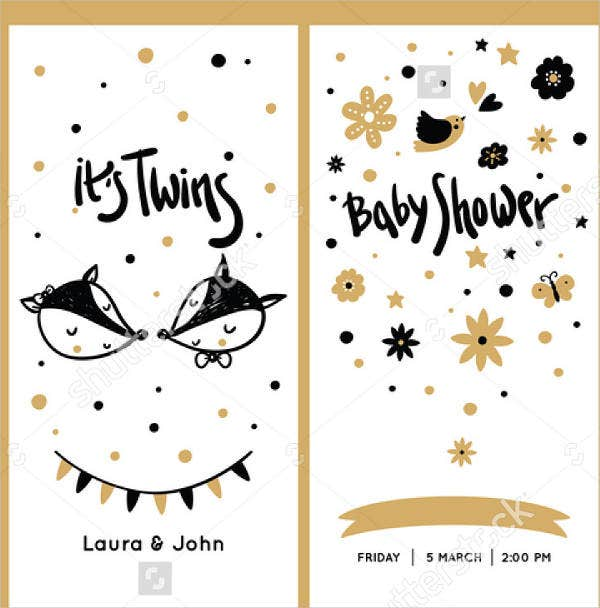 printable twin baby shower invitation