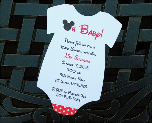 Mickey Mouse Onesie Baby Shower Invitation