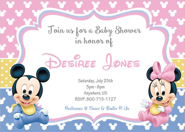 Mickey and Minnie Mouse Baby Shower Invitation