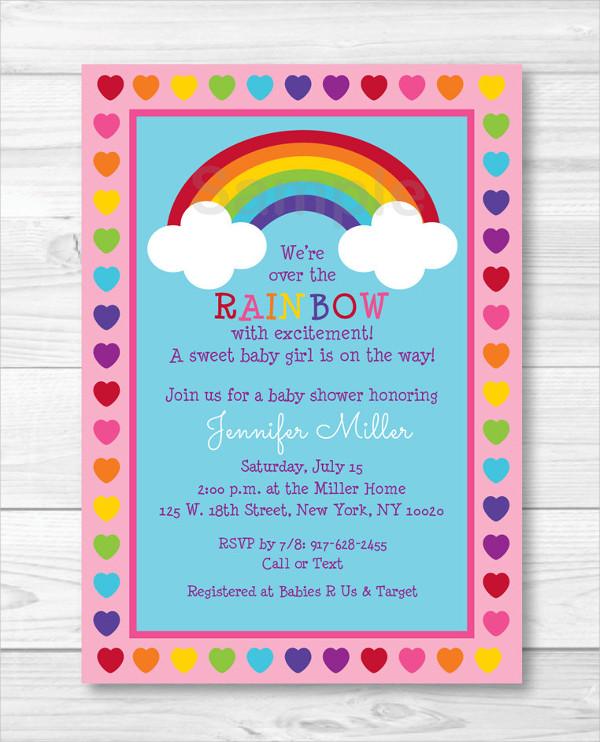 Rainbow Sprinkle Baby Shower Invitation
