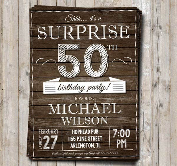 50th Surprise Birthday Invitation