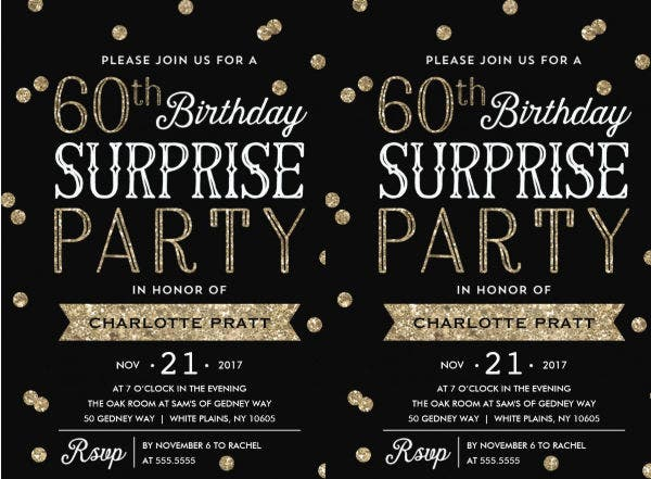 60th Surprise Birthday Invitation