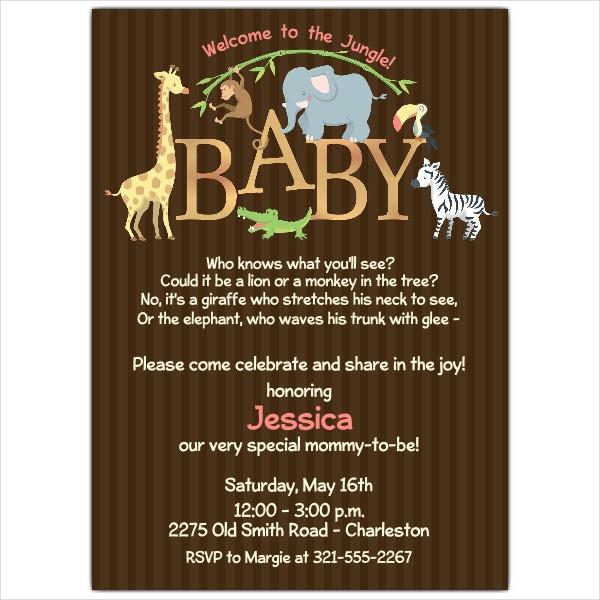 Modern Giraffe Baby Shower Invitation