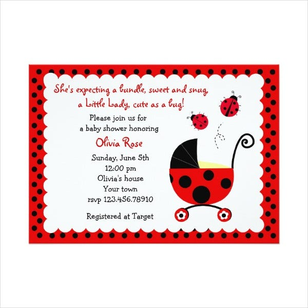 Modern Lady Bug Baby Shower Invitation
