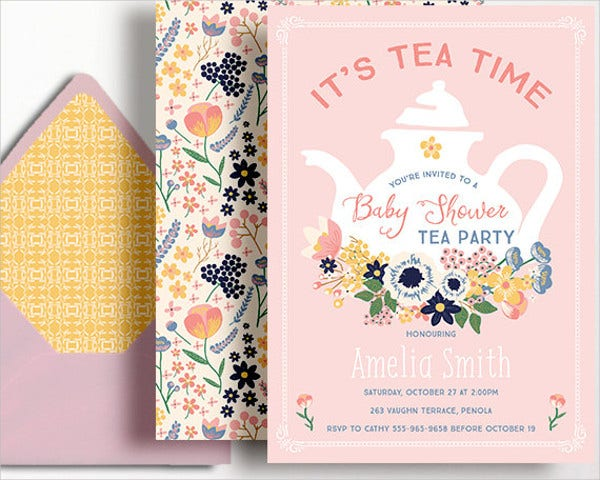 modern tea party baby shower invitation